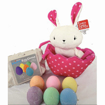 Polka Dots Easter Egg Hunting Rabbit Basket FREE Micador Egg Chalks